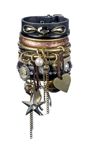 Stack up your junkyard bangles & bracelets to turn the sanity of your look upside down!