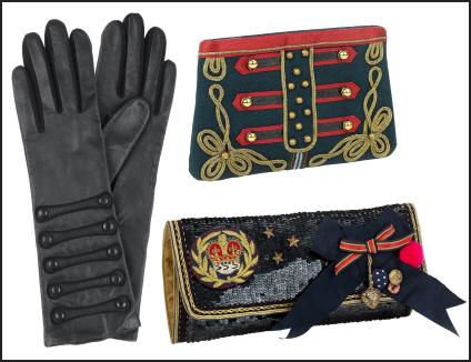 military inspired hand gloves & clutch purses