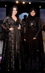 Abaya_designer_Hanadi_badou_with_Model_at_Oriental_Red_Carpet_Fashion_Show_2010